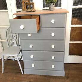 Pine Tallboy/Chest Free Delivery Ldn Shabby Chic CHEST of 6 drawers