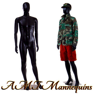 Full Body Black Mannequin Metal Base Egg Head Removable Arms Used -mc-2bu