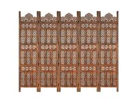 vidaXL Solid Mango Wood Hand carved 5-Panel Room Divider 200cm Privacy Screen