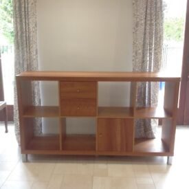 Beech wood sideboard with storage units, cupboard & 2 drawers.