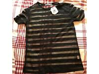 Women's Sheer Black t-shirt UK Size 6