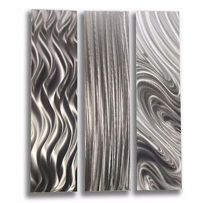Silver Contemporary 3 Piece Metal Wall Art   Silver Trilogy By Jon Allen