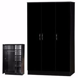 Black High Gloss Bedroom Furniture Triple Wardrobe 3 Door