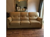 Cream Leather Three Seater, Two Seater and Footstool