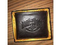 Men's official Harley Davidson brown leather wallet unused original box.