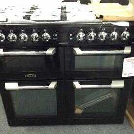 Black leisure cookmaster dual fuel range 100cm new graded 12 mth gtee
