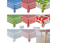Square Round Transparent Printed TABLECLOTH Stripe Gingham Dot Polka Apple Protector Cover