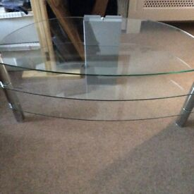 GLASS AND CHROME TV TABLE £15
