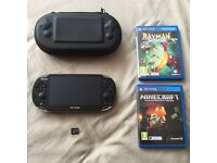 Sony PS Vita (1000 OLED) with 64GB Card, Case, Minecraft and Rayman Legends
