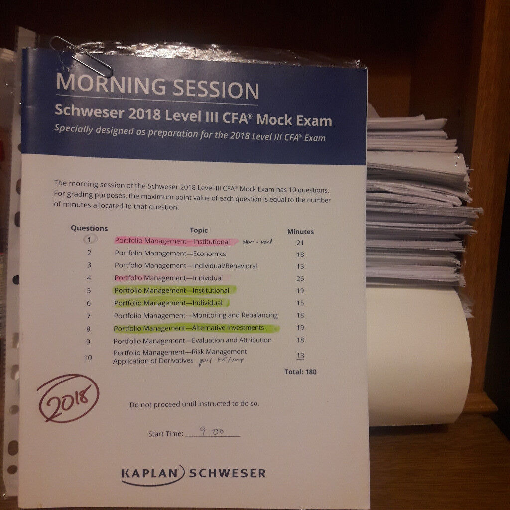 CFA level 3 2018 - 25 Mock exams (Morning & Afternoon Paper) - £90 ...