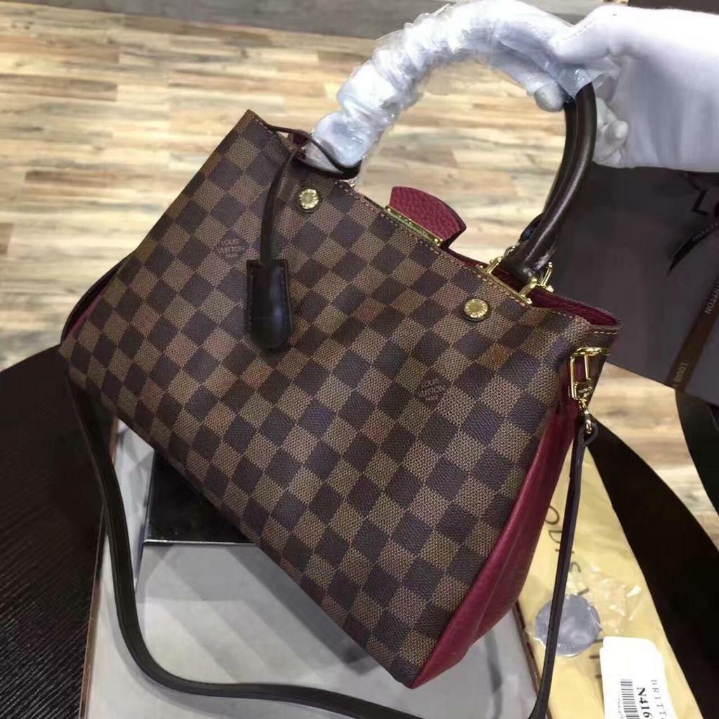 364e4645f567 Louis Vuitton LV Neverfull Damier Ebony Brown Maroon Womens Handbag Bags