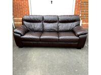 3 Seater Brown Leather Sofa NEED TO BE GONE BY Sunday( delivery free )