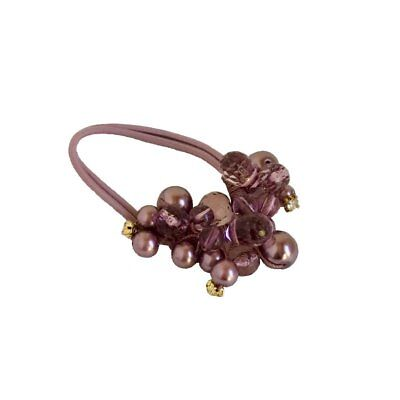 Crystals Pearls Hair Ponytail Holder Band - Purple Pearl for sale  Shipping to India