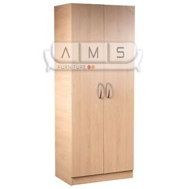 BRAND NEW 2 DOOR FULLY ASSEMBLED WARDROBE, BEECH BROWN OAK WHITE, SHELVES AND HANGING RAIL FITTED