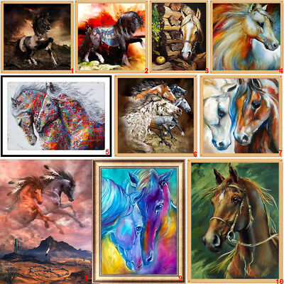 Horse Cross Stitch - Steed DIY 5D Round Diamond Painting Horse Art Drill Cross Stitch Kits Home Decor
