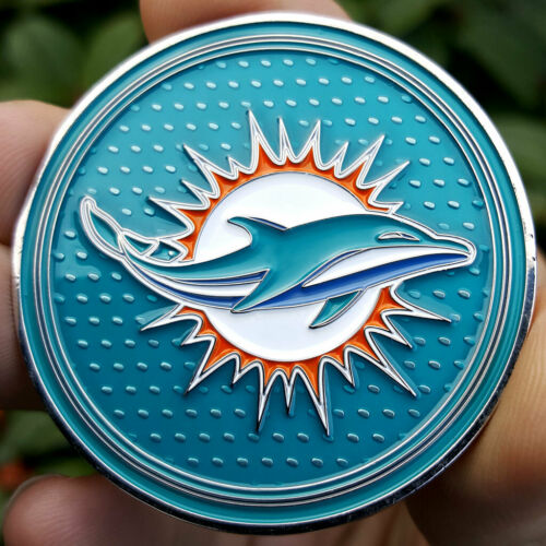 PREMIUM NFL Miami Dolphins Poker Card Guard Chip Protector Golf Marker Coin NEW