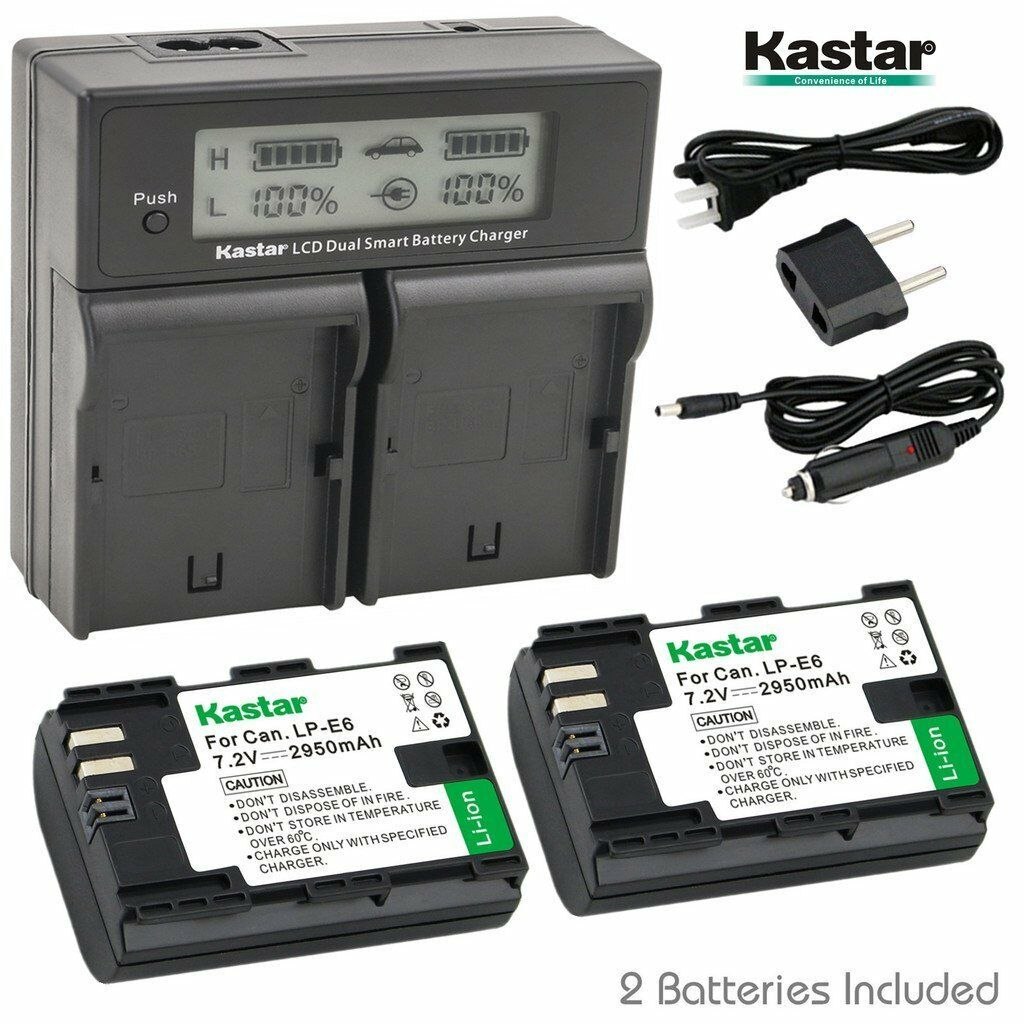 Kastar Lcd Dual Charger & 2 Battery Canon Lp-e6 Eos 60d 6...