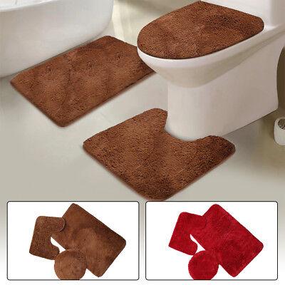 3 Piece Solid Plush Bathroom Rug Set, Bath Mat, Contour Rug, Toilet Lid Cover