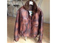 Leather ft flight style motorbike jacket