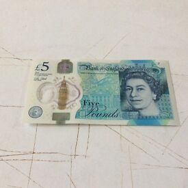Collectors five pound note new style Note AA15 592015 as new