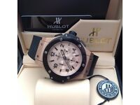 new full package mens rose gold face rise black ceramic bezel rubber bracelet Hublot Fusion