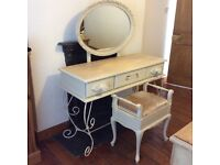 Vintage/Shabby Chic Dressing Table and Stool
