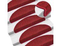 Carpet Stair Treads 15 pcs Bordeaux Red 65x24x4 cm-133889