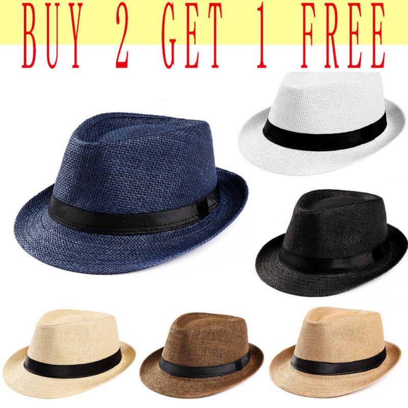 Unisex Hat Men Women Fedora Trilby Wide Brim Straw Cap Summe