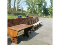 Webber oak dining table and six dining chairs