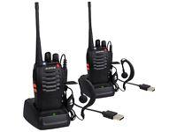 2x Baofeng Walkie Talkie Long Range 2 way Radio UHF 400-470MHZ 16CH Earpiece NEW