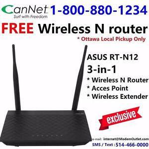 FREE Asus RT-N12 3-in-1 wireless router with any Cable internet plan $35/month and up, call 1-800-576-1234 to order
