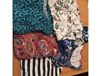 A bundle of women's tops size 12, 6 short sleeve tops , multi coloured