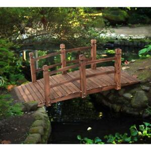 5' Wooden Bridge Stained Finish Decorative Solid Wood Garden Pond Arch Walkway - BRAND NEW - FREE SHIPPING