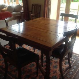 Vintage, French polished oak di ing table and 4 chairs