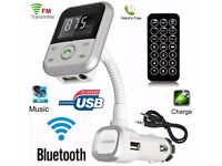 UK Wireless Bluetooth Car MP3 Player FM Transmitter + Remote SD USB Charger Kit