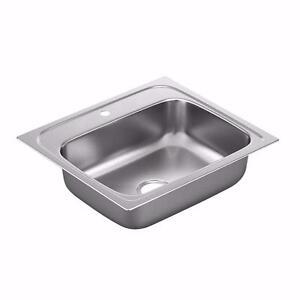 Moen G201961 2000 Series 20 Gauge Single Bowl Drop In Sink, Stainless Steel NEW