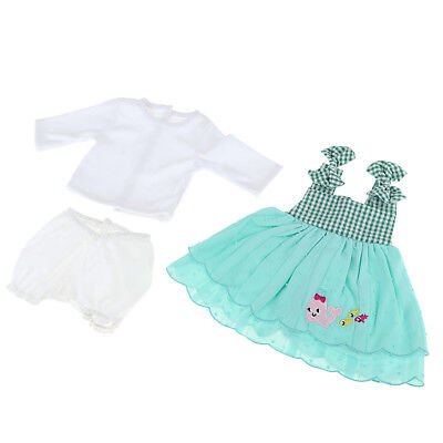 Long Sleeve Tops Dress Short Pants for 22 inch Newborn Baby Doll Clothes Set