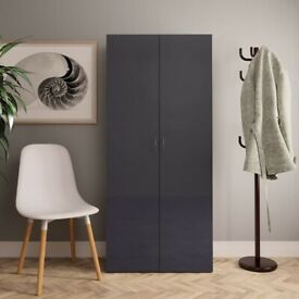 Shoe Cabinet High Gloss Grey 80x35.5x180 cm Chipboard-800296