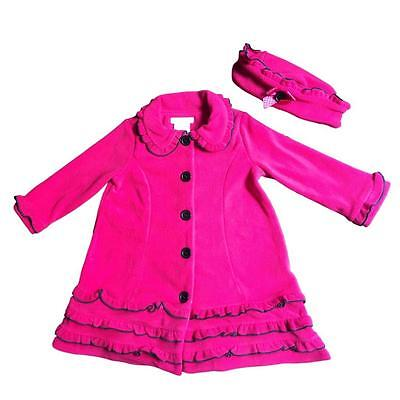 Bonnie Jean Girls Baby Ruffled Fleece Coat and Hat Set, Fuschia Red ()