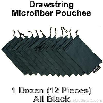 12 Drawstring Microfiber Pouch Sunglass Eyeglass Sunnies Soft Storage Case Black (Microfiber Pouch Drawstring Case)