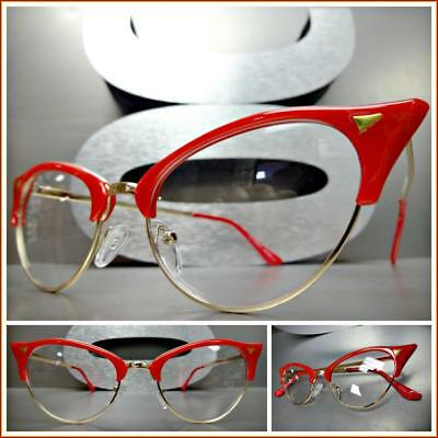 Classy 60's Retro Cat Eye Style Clear Lens EYE GLASSES Red & Gold Fashion Frame](Red Glasses Frames)