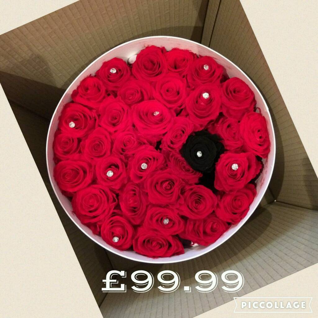 infinity rose. hat boxes infinity roses last a minimum of 1 year. rose