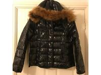 Real Fur Hooded Moncler Style Coat Size 10-14