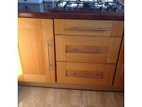 Solid Oak kitchen unit doors with handles