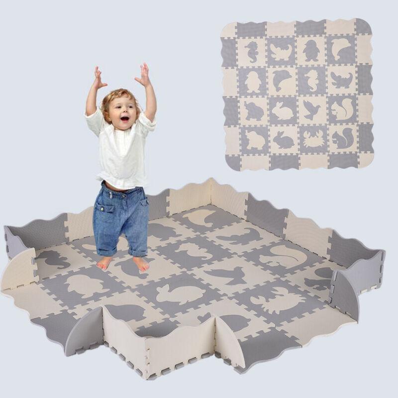"Baby Play Mat Gym 16 Tiles 12"" Kids Soft Interlocking Foam F"