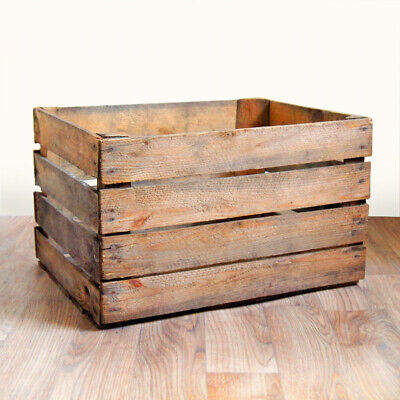 WOODEN CRATES - PICK QTY - RUSTIC Apple Boxes - FREE SHIP - Genuine UK Seller