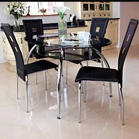 Black oval dinning table