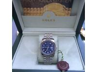 Silver Rolex DateJust with Blue Face and Jubilie Strap in Rolex Bag and Rolex Box