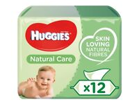 Huggies Natural Care Baby Wipes 12 pk. With aloe vera & vitamin E