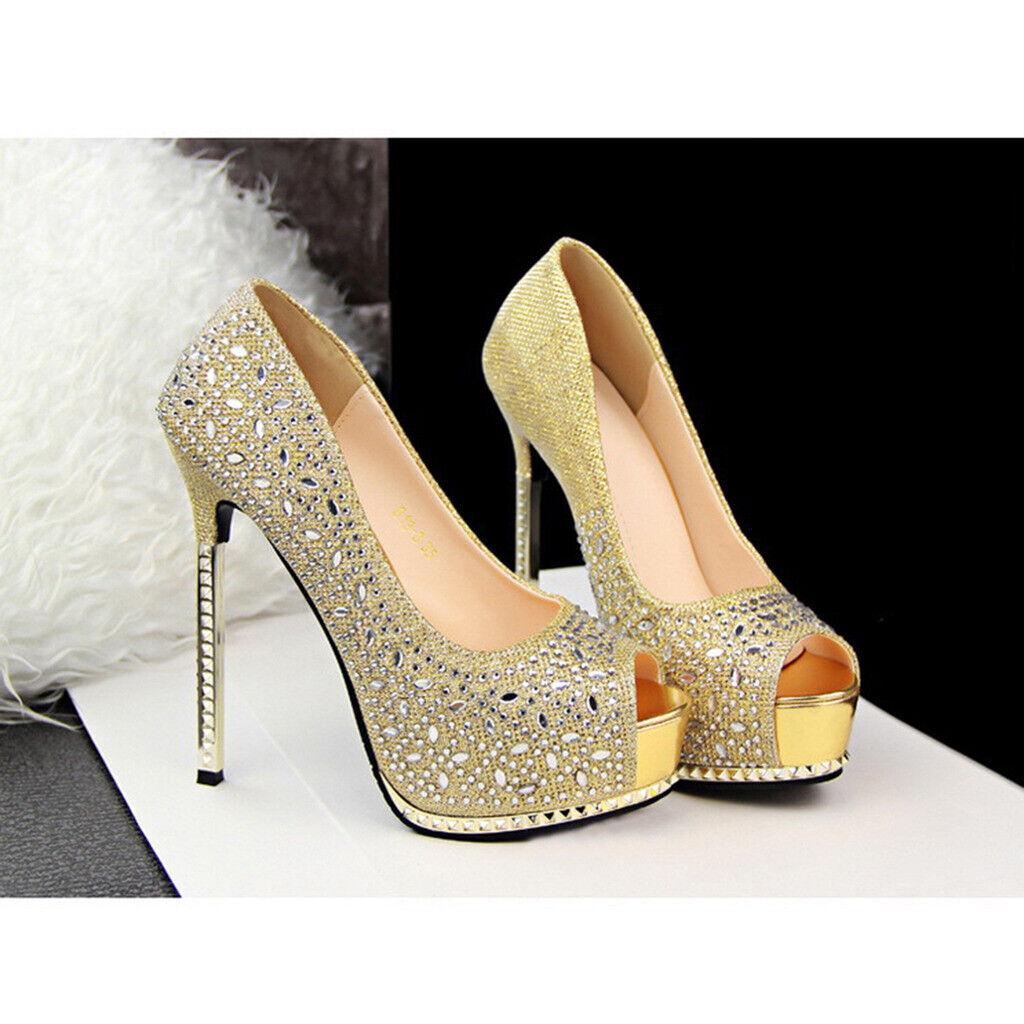 """5.3"""" Fish Mouth High Heels Golden Glitter Platform Pump Wedding Shoes for Women"""